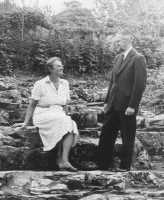 1960 Oct. Rosebud and Ross Ashby on the rockery. Photo by local newpaper for an article about the conversion of Westons from a school.