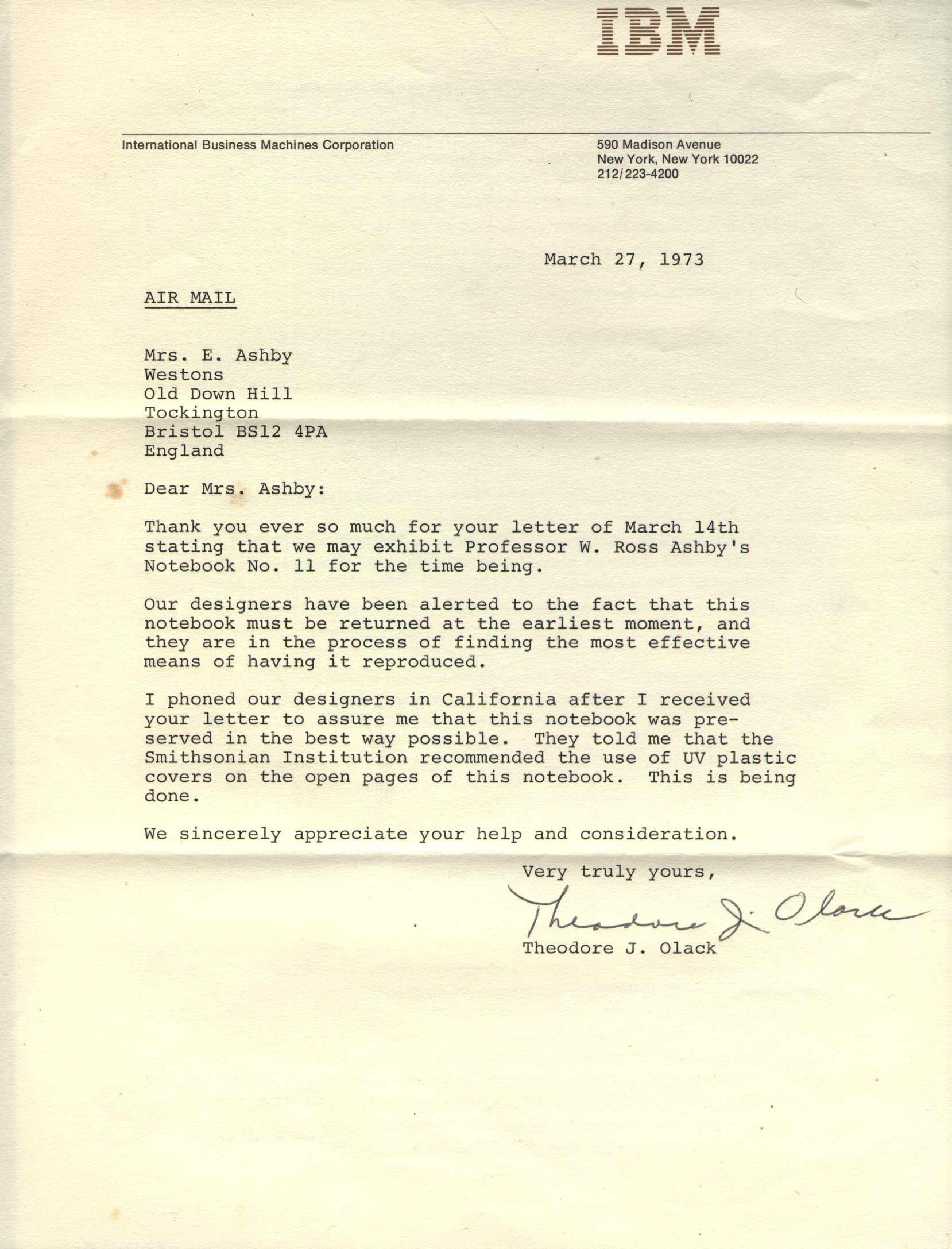 IBM Letter To Mrs Ashby
